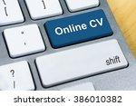 written word online cv on blue...