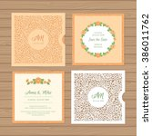 wedding invitation or greeting... | Shutterstock .eps vector #386011762