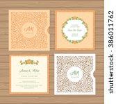 wedding invitation or greeting... | Shutterstock .eps vector #386011762