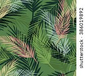 seamless exotic pattern with... | Shutterstock .eps vector #386019892