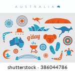 blue and orange australia icon... | Shutterstock .eps vector #386044786