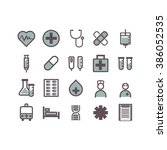 medicine icons set vector. | Shutterstock .eps vector #386052535