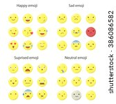big set of 36 smiley faces with ... | Shutterstock .eps vector #386086582