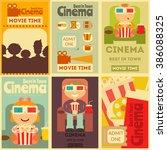cinema mini posters set. movie...   Shutterstock .eps vector #386088325