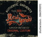vintage label with new york... | Shutterstock .eps vector #386090092