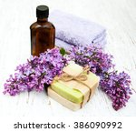 natural handmade soap and lilac ...   Shutterstock . vector #386090992