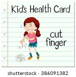 health card with girl cutting... | Shutterstock .eps vector #386091382