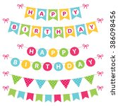 birthday banners vector set | Shutterstock .eps vector #386098456