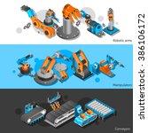industrial robot banner set   Shutterstock . vector #386106172