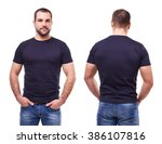 handsome man in black t shirt...   Shutterstock . vector #386107816