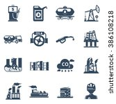 oil industry icons set | Shutterstock . vector #386108218