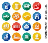 oil industry icons flat | Shutterstock . vector #386108236