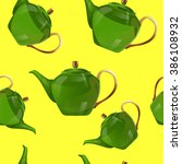 green kettle seamless pattern... | Shutterstock .eps vector #386108932