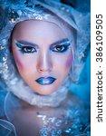 winter beauty woman. christmas... | Shutterstock . vector #386109505