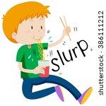 boy slurping noodles from the... | Shutterstock .eps vector #386111212