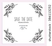 wedding invitation card with... | Shutterstock .eps vector #386113252
