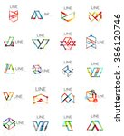 set of linear abstract logos ... | Shutterstock .eps vector #386120746