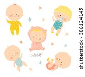 set with cute baby girls and... | Shutterstock .eps vector #386124145