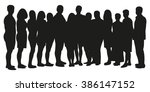 group of people silhouette | Shutterstock .eps vector #386147152