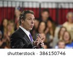 Small photo of NEW YORK CITY - MARCH 2 2016: Hillary Clinton affirmed her status as front-runner for the Democratic presidential nominations with a speech at Jacob Javits Center. NY governor Andrew Cuomo