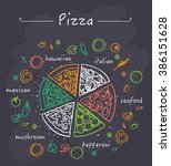 collection of popular pizza  | Shutterstock .eps vector #386151628