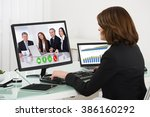 young businesswoman... | Shutterstock . vector #386160292