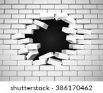 a white wall being smashed or... | Shutterstock .eps vector #386170462