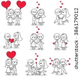 collection set of cute couple... | Shutterstock .eps vector #386179012