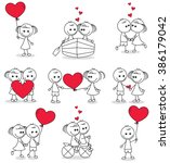 collection set of cute couple... | Shutterstock .eps vector #386179042