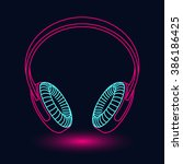 neon headphones | Shutterstock .eps vector #386186425