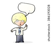 cartoon school boy answering... | Shutterstock .eps vector #386193028