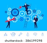 teamwork of engine repair.... | Shutterstock .eps vector #386199298