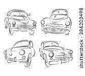 retro classic cars. | Shutterstock .eps vector #386203498