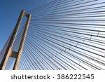 modern bridge steel ropes... | Shutterstock . vector #386222545