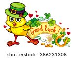 funny yellow chicken in the... | Shutterstock .eps vector #386231308