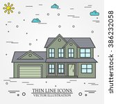 vector thin line icon  suburban ... | Shutterstock .eps vector #386232058