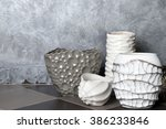 home decor on grey wall... | Shutterstock . vector #386233846