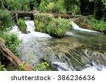 rapid in korana river in... | Shutterstock . vector #386236636