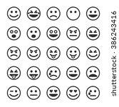 set of outline emoticons  emoji ... | Shutterstock .eps vector #386243416