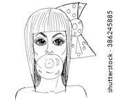 Black and white portrait glamorous  girl with chewing gum. Hand drawn  sketch. Vector illustration.