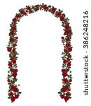 arch of red climbing roses.... | Shutterstock .eps vector #386248216