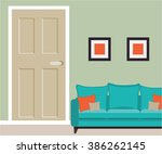 part of living room with door... | Shutterstock .eps vector #386262145