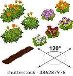 isometric flowers in vector  | Shutterstock .eps vector #386287978