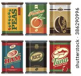 vintage food cans. retro food... | Shutterstock .eps vector #386290996