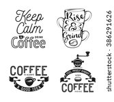 set of coffee related... | Shutterstock .eps vector #386291626