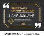 certificate template with clean ... | Shutterstock .eps vector #386304262