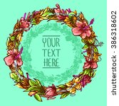 floral frame. cute retro... | Shutterstock .eps vector #386318602