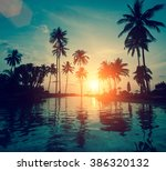tropical coast during an... | Shutterstock . vector #386320132