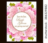 invitation with floral... | Shutterstock . vector #386329882
