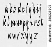 hand drawn font handwriting... | Shutterstock .eps vector #386329906